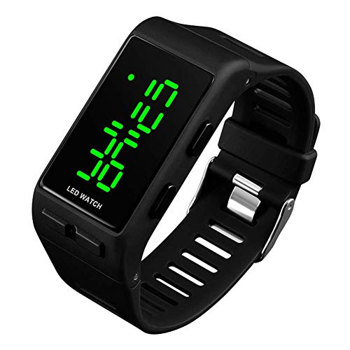 Digital Watches for Men Women, 3 ATM Waterproof Sports Digital Watch with Alarm for Teenagers Kids Boys Girls, Black Unisex Outdoor Electronic LED Wrist Watch