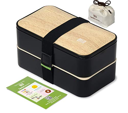 Original BentoHeaven Bento Box Bundle with FREE Lunch Bag, Divider, Utensils, Chopstick & Fun Lunch Box Notes - Leakproof Lunch Boxes - Bamboo Black