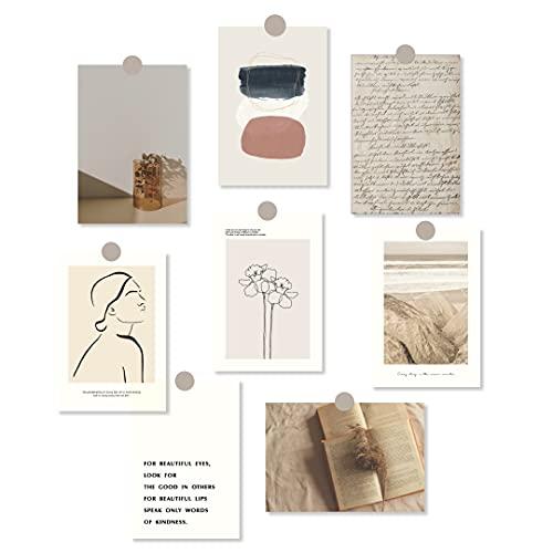 【全6種】 ポストカード 8枚 セット 韓国 北欧 アート ミニ ポスター おしゃれ はがき ナチュラル インテリア 雑貨 (Aパターン)