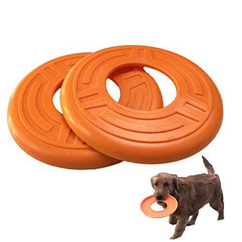 Jeneric Frisbees juguete indestructible, para entrenamiento de mascotas, disco volador de goma, disco de golf, disco flotante para perros pequeños, medianos o grandes, 2 unidades