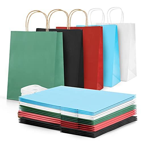 AN HUI MING 18 Stück Papiertüten Bunt mit Henkel,Geschenktüten Groß,Buntes Papier Geschenktüte,Kraftpapier Tüten,Partytüten Papiertaschen für Weihnachten…