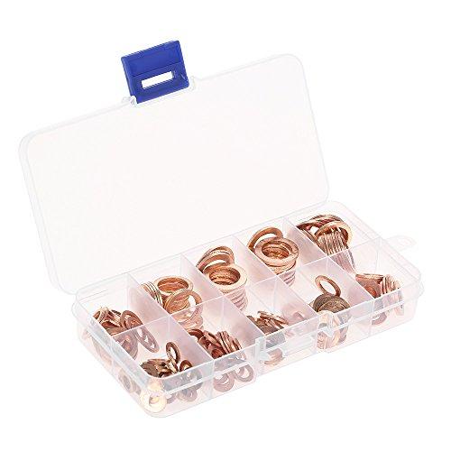 Walmeck 200PCS M5-M14 Koper Wasmachines Pakking Set Platte Ring Seal Assortiment Kit met Doos 9 Maten voor Hardware Accessoires