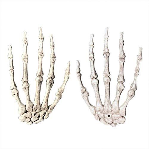 Mano de esqueleto realista de tamaño real para decoraciones de Halloween, tamaño real de plástico Severed Skeleton Manos para decoraciones de Halloween, 1 par