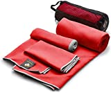 OlimpiaFit Set of 3 Towels Microfiber Towel Perfect Sports & Travel &Beach Towel. Fast Drying - Ultra Compact. Suitable for Camping, Gym, Beach, Swimming, Backpacking. Red