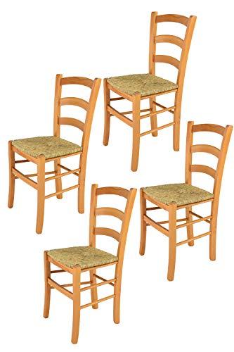 t m c s Tommychairs - Set 4 sillas Venice para Cocina y Comedor, Estructura en Madera de Haya Color Miel y Asiento en Paja