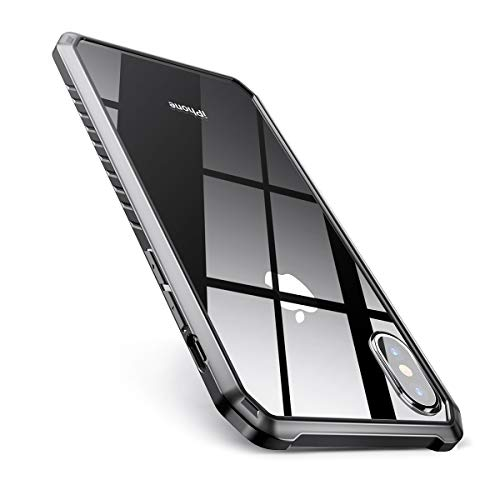 AINOPE Shockproof Series Tempered Glass Case for iPhone Xs/iPhone X Case,[Military Grade Drop Tested][Mimics The Glass Back of iPhone] + Soft Silicone Bumper Cover for Apple 5.8 (2018 & 2017)(Clear)