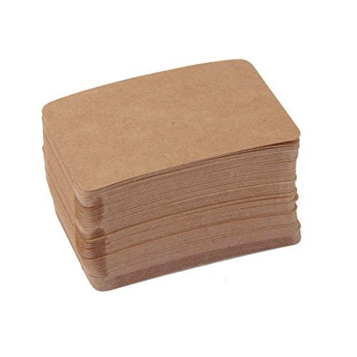 A-CRAFT 100枚セットクラフト紙製 無地 カード 荷札 メッセージカード ラベル タグ (ブラウン)