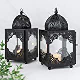 Moroccan Black Metal Candle Lantern Set 2 Lanterns. Candle Lanterns Decorative. Mantle Decorations. Candle Impressions Lanterns. Tabletop Black Decorative Lantern 9x4x4.