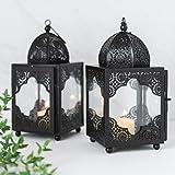 Moroccan Black Metal Candle Lantern Set 2 Lanterns. Candle Lanterns Decorative. Mantle Decorations. Candle Impressions Lanterns. Tabletop Black Decorative Lantern 9x4x4.