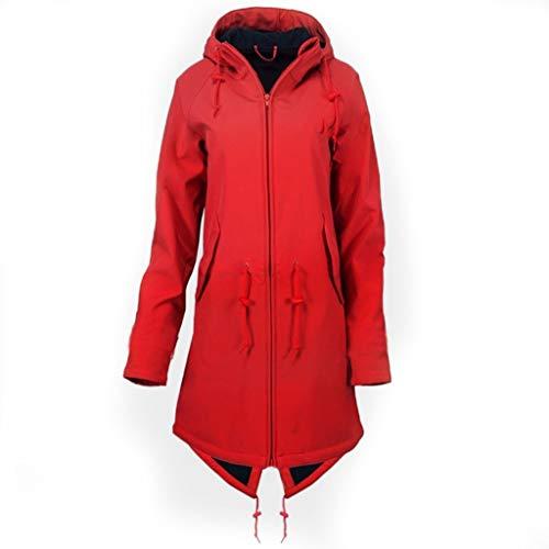Plot Damen Windbreaker Leicht Einfarbig Winterjacke Regenjacke mit Kapuze Winddichte Jacken Lang Übergangsjacke Outdoor Softshelljacke Mantel