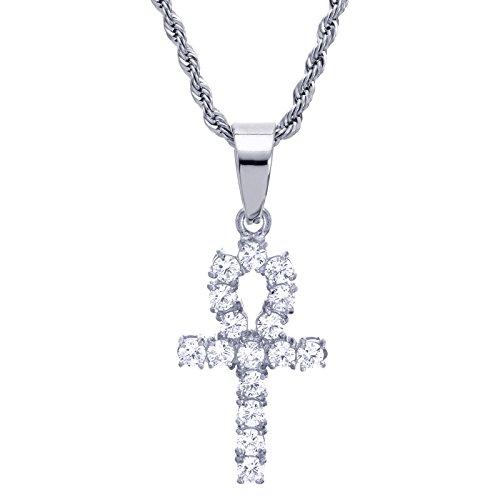Unbekannt 61cm Kette, versilbert Edelstahl Mini Iced Ankh Kreuz Anhänger Damen Herren Halskette SCP 8033S
