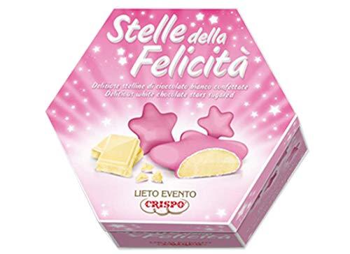 Confetti Stelline di Cioccolato Bianco incartate singolarmente 500g - Lieto Evento Stelle della Felicità (Rosa)