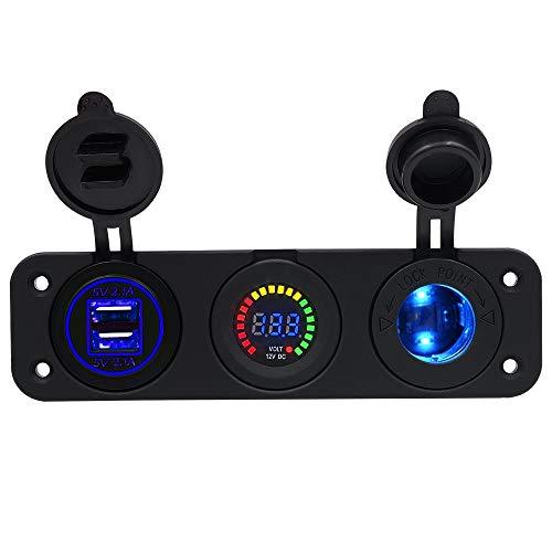Cargador de coche dual usb Adaptador del zócalo de alimentación del coche del encendedor de cigarrillos del coche, cargador de coche a prueba de agua con carga rápida de 12V dual USB con voltí