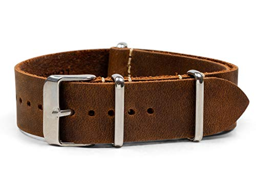 Benchmark Basics Dark Brown 20mm Leather NATO Strap - Crazy Horse Oiled Leather Watch Band for Men & Women
