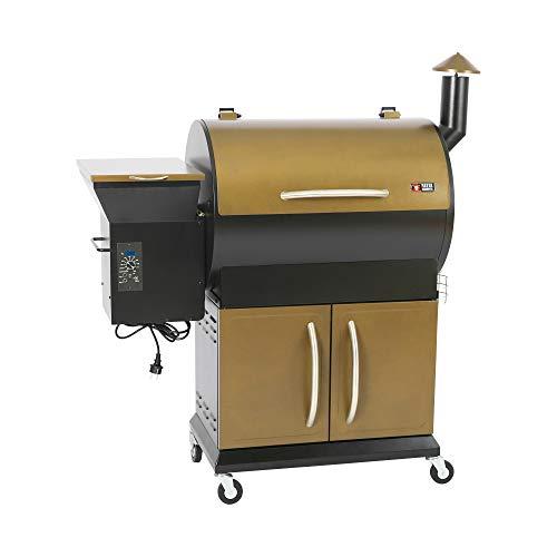 Mayer Barbecue Barbacoa ahumadora de pellets de humo MPS-300 Pro, con ruedas, para ahumar, ahumar, asar, asar, hornear, 10 niveles de temperatura, con cubierta