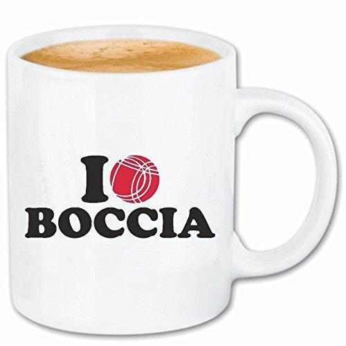 Reifen-Markt Kaffeetasse I Love Boccia - Kugeln - Boccia Regeln - Spieler - Spielerin Keramik 330 ml in Weiß