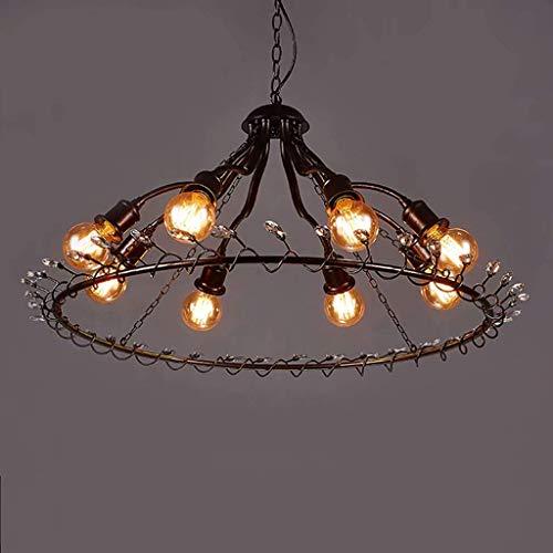 LLYU Loft Industrie Wind 8 ronde kristallen decoratie restaurant kroonluchter retro nostalgische woonkamer persoonlijkheid creatieve kunst lamp