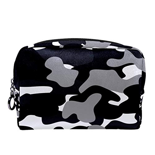 Cosmetic Bag Womens Makeup Bag for Travel to Carry Cosmetics Change Keys etc,Black and White Camouflage