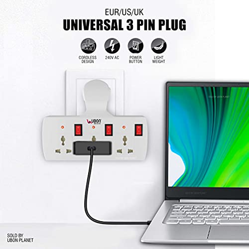 UBON EXT-100 Power Champ 3 Ports Universal Plug Compatibility Extension Board with Individual Switch Buttons 6A Cordless for Light Appliances Only