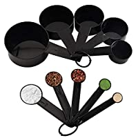 set di 10 cucchiai dosatori neri con segni di misurazione del volume precisi,strumenti di misurazione in plastica per cucine e cucine,adatti per torte,caffè,dessert o cibo