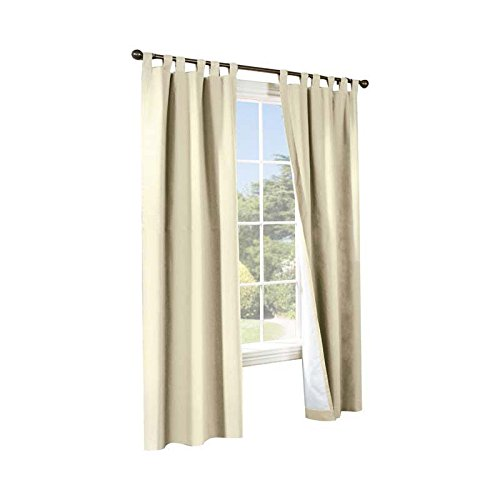 Commonwealth Home Fashions 70292-153-103-54 Thermalogic Insulated Solid Color Tab Top Curtain Pairs 54 in.44; Natural