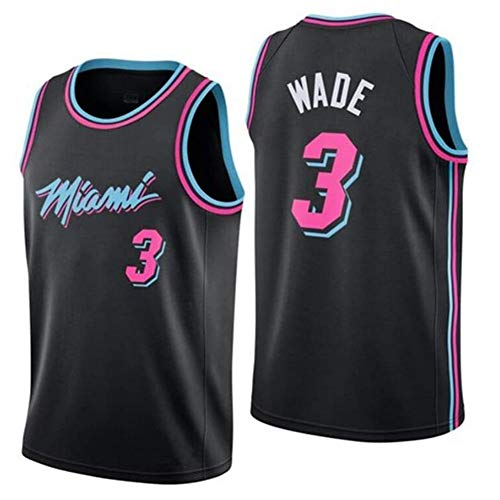 Dwyane Wade # 3 Miami Heat - Basketball T-Shirt Retro Basketball Uniformen Top gestickte Trikots (Color : G, Size : L)