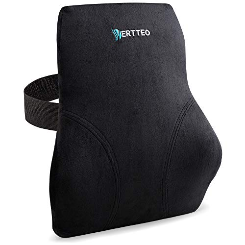 Full Lumbar Black Support by Vertteo - Premium Entire High Back Pillow for Office Desk Chair and Car Seat - Ergonomic Comfortable Memory Foam Cushion Relieves Couch Sofa Reading Lower Sciatica Pain