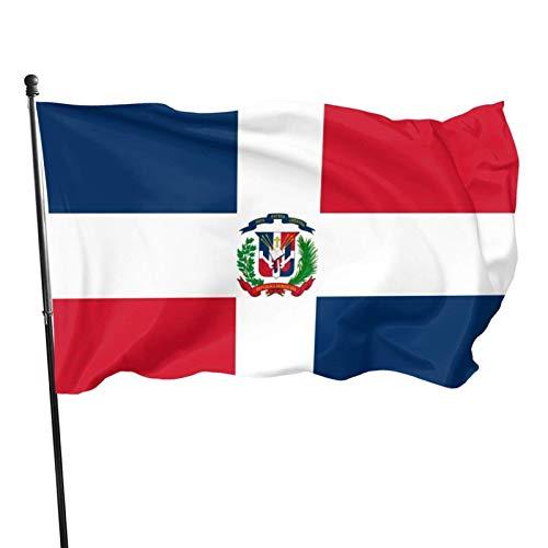 La bandera de la República Dominicana Bandera de 3 x 5 pies Bandera para exteriores 100% poliéster translúcido de una sola capa 3 x 5 pies
