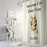 Qui556 Personalisierbarer Duschvorhang mit Kuhmotiv, Bauernhof, lustige Milchkuh