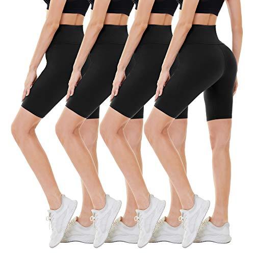 CAMPSNAIL 4 Pack Biker Shorts for Women – 8' High Waist Workout Biker Yoga Running Compression Exercise Shorts