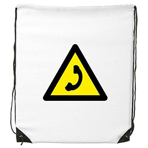 Waarschuwing Symbool Geel Zwart Bellen Verboden Driehoek Teken Mark Logo Kennisgeving Trekkoord Rugzak Fijne Lijnen Winkelen Creatieve Handtas Schouder Milieu Polyester Tas