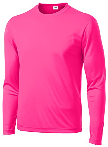Clothe Co. Mens Long Sleeve Moisture Wicking Athletic Sport Training T-Shirt, L, Neon Pink