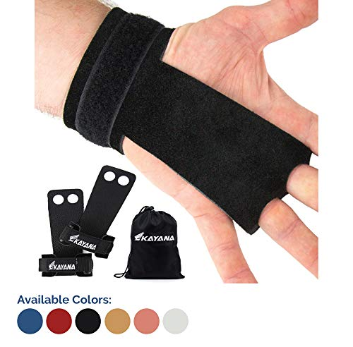 KAYANA 2 Hole Leather Gymnastics Hand Grips - Palm Protection and Wrist Support for Cross Training, Kettlebells, Pull ups, Weightlifting, Chin ups, Workout, Exercise (Black, Medium)