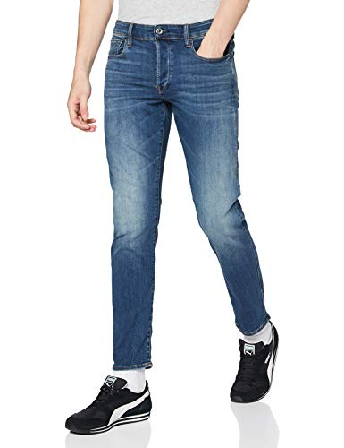 G-STAR RAW Herren 3301 Slim Fit Jeans, Blue Vintage Medium Aged 8968-2965, 32W / 32L