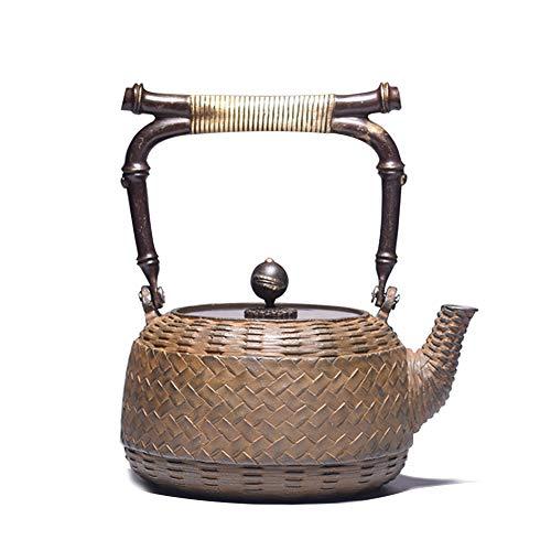 Retro Ghisa Teiere Bollitore 1300ml, Creativo Tessitura di bambù modellismo Giappone Metallo Ghisa Teiera per Fornello a gas e Tè sfuso o bustine di tè