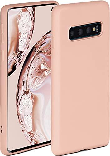 ONEFLOW Soft Hülle kompatibel mit Samsung Galaxy S10 Hülle aus Silikon, erhöhte Kante für Displayschutz, zweilagig, weiche Handyhülle - matt Rosa