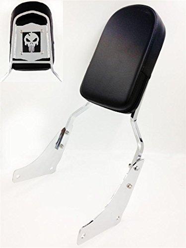 HTT Motorrad Chrom Totenkopf Rückenlehne Sissy Bar mit Pad für Honda Shadow ACE 1100/Honda Shadow ACE Tourer/Honda Shadow Sabre