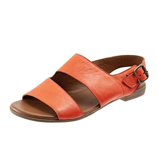 Mujeres Roma Hebilla Correa Sandalias Planas Dedo del pie Abierto Recortable Slingback Sandalias Ligeras Verano Zapatos Casuales