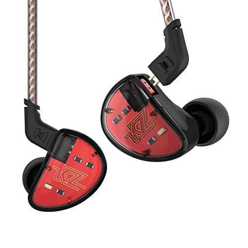KZ AS10 Auriculares audífonos 5 equilibrado Armadure 5BA Auricular, auriculares driver con 2pin auriculares cable (Negro sin Mic)