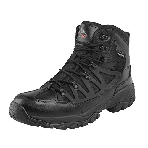 NORTIV 8 Men's Waterproof Hiking Boots Lightweight Mid Ankle Trekking Backpacking Outdoor Tactical Combat Boots Black Size 12 M US JS19002M
