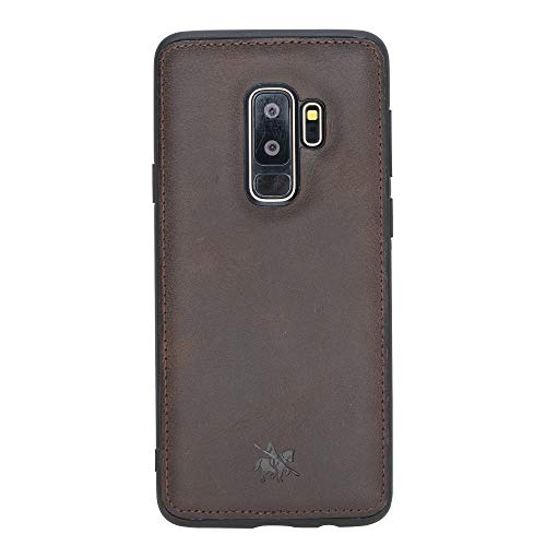Venito Lucca Leather Case Compatible with Samsung Galaxy S9 Plus (6.2 inch) – Disinfected with a UV Sanitizer – Extra Secure with Padded Back Cover - Coffee Brown