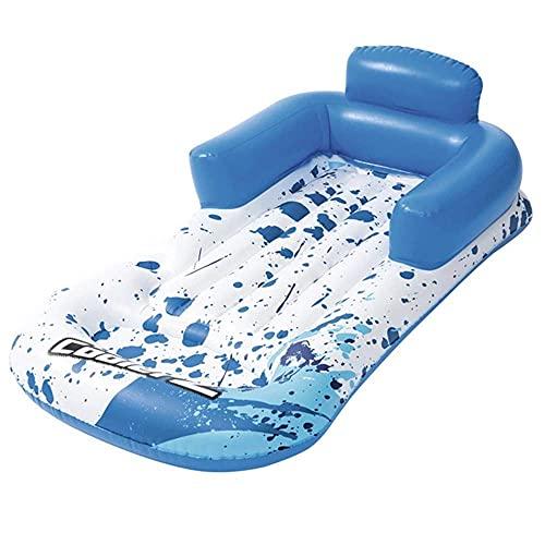 Schwimmreifen Aufblasbare Lounge-Stuhl schwimmende Reihe, verdickter aufblasbarer schwimmender Liege mit Getränkhalter, schwimmenden Bett-Strand-Luftkissen, aufblasbares...