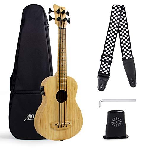 """Ukelele bajo AKLOT Bamboo Electric Bass Baritone 30""""Ukulele Madera maciza con funda Llave de afinación Humidificador"""