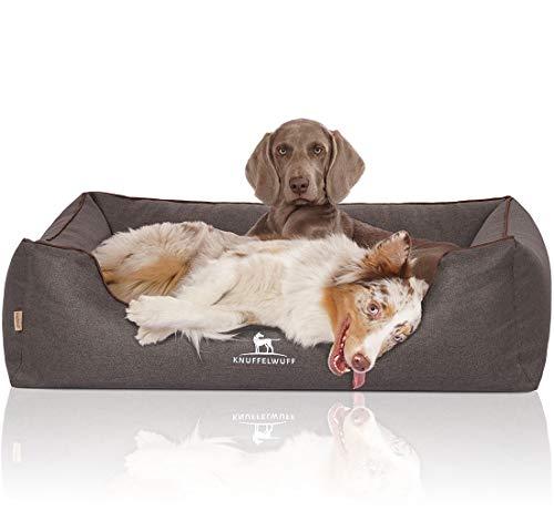 Knuffelwuff Orthopädisches Hundebett XXL Wippo Hundekorb Hundesofa Hundekissen Hundekörbchen waschbar Schwarz 120 x 85cm grosse Hunde