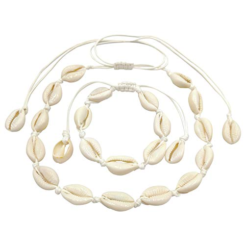 Theastarry Exquisite Bohemian Style Adjustable Vintage Natural Shell Necklace Bracelet Set of 2