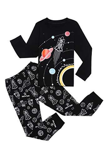 Bricnat Schlafanzug Jungen Langarm Baumwolle Pyjama Kinder Zweiteiliger Nachtwäsche Set Dinosaurier,Hai, Sternenhimmel, Feuerwehrauto,Bulldozer 3-11 Jahre Schwarz 130