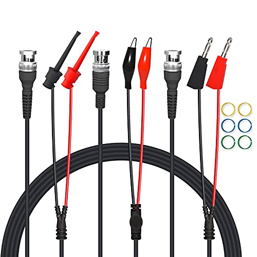 Cleqee BNCテストリードセット導電性高く銅線 オシロスコープ プローブ BNCオスからワニ口クリップ BNCオスからデュアル銅線ミニグラバーICテストフッククリップ BNCからデュアルスタッカブルバナナプラグ ケーブルワイヤーセット 電子テスト用プローブワイヤ