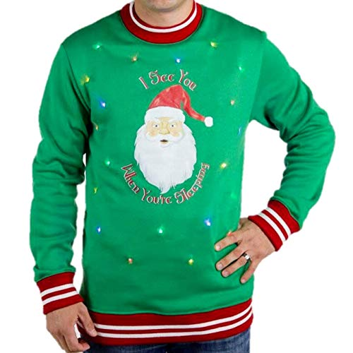 The Ugly Holidays Santa Claus Ugly Christmas Sweater with Lights for Men, Funny Santa Tacky Sweater Light Up, Green Xmas Pullover Small - 3XL