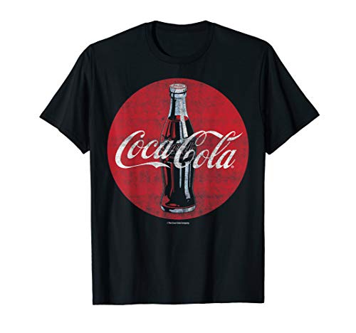 Coca-Cola Distressed Retro Bottle Disc Logo Premium T-Shirt