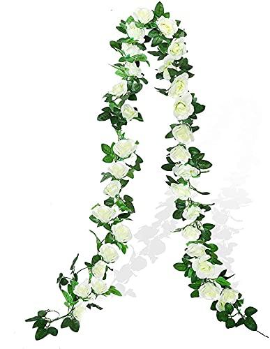 Demic Flores artificiales para colgar de guirnaldas de arco, decoración para el hogar, boda, 2 unidades, 3,5 m (color blanco)